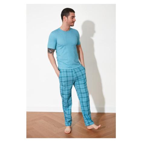Trendyol Blue Plaid Knitted Pyjama Set