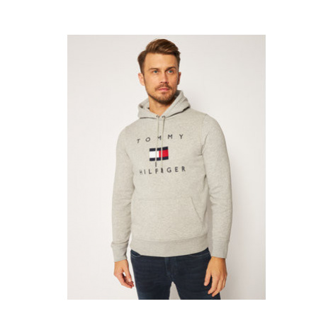 TOMMY HILFIGER Mikina Flag Hoody MW0MW14203 Sivá Regular Fit