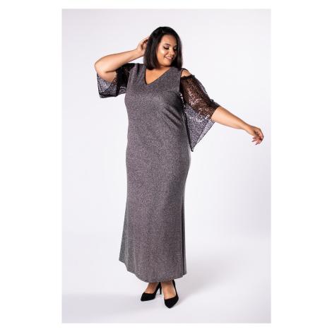 Brokátové maxi šaty s rozparkami na ramenách a tylovými rukávmi
