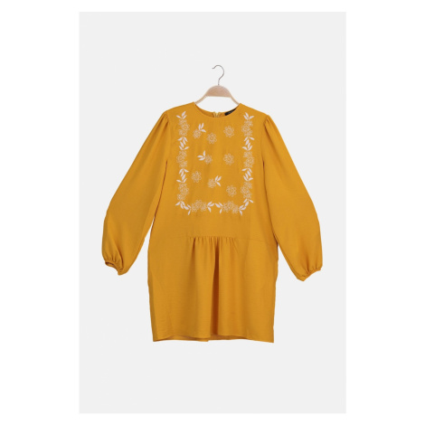 Trendyol Orange Floral Embroidery Detailed Tunic