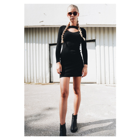 Dámske šaty URBAN CLASSICS Ladies Cut Out Dress čierne