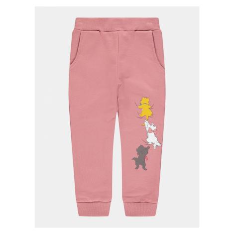 Ružové dievčenské tepláky s potlačou name it