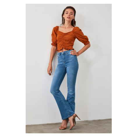 Trendyol Blue High Waist Push Up Flare Jeans Navy
