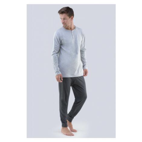 Pánske pyžamo Gina 79059P - barva:GINLxGDxG/svetlo šedá / tmavo šedá