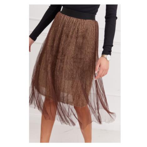 Pôsobivá tylová sukňa, hnedá FASARDI