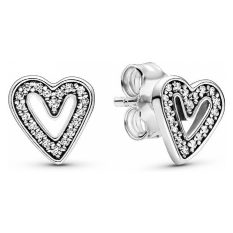 Pandora Strieborné náušnice trblietavá srdce 298685C01