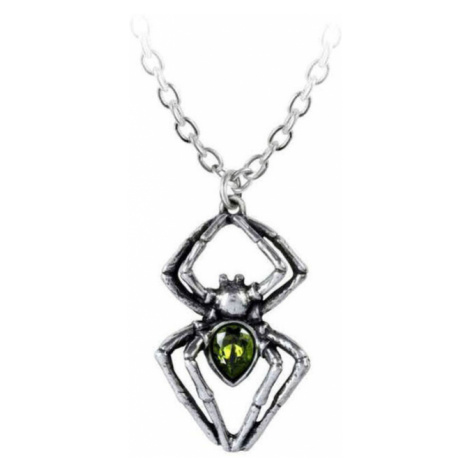 obojok ALCHEMY GOTHIC - Emerald Spiderling - Pewter - P904