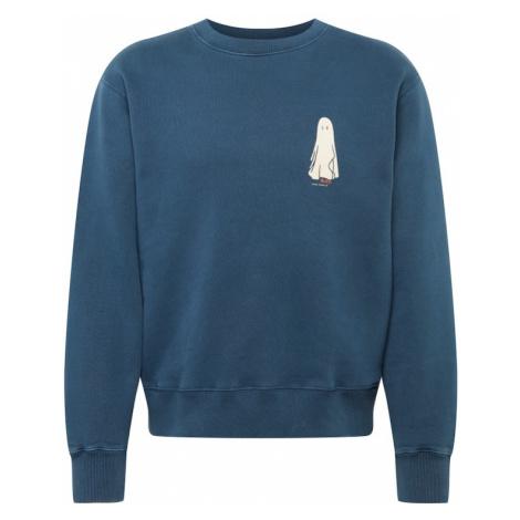 Nudie Jeans Co Mikina 'Frasse'  modrofialová / biela / pastelovo červená / nebesky modrá