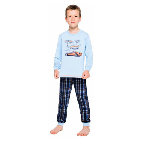Chlapčenské bavlnené pyžamo Maty modré s autom Taro