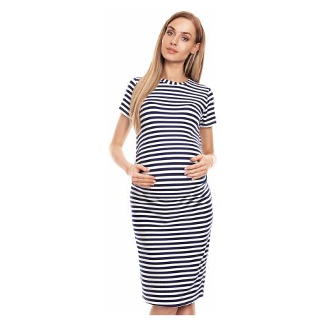 Bielo-modré pásikavé tehotenské šaty 0128 PeeKaBoo