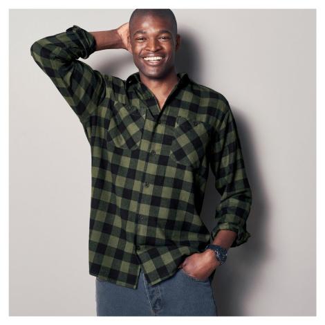 Blancheporte Kockovaná košeľa, flanel khaki+čierna