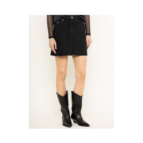 Calvin Klein Jeans Džínsová sukňa Archive Icons J20J213165 Čierna Regular Fit