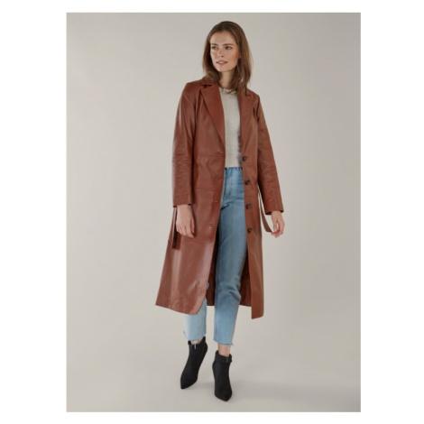 Kožený maxi kabát v koňakovej farbe KARA