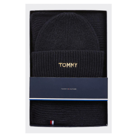 Tommy Hilfiger darčekové balenie čiapka + šál - tmavomodrá Veľkosť: OS