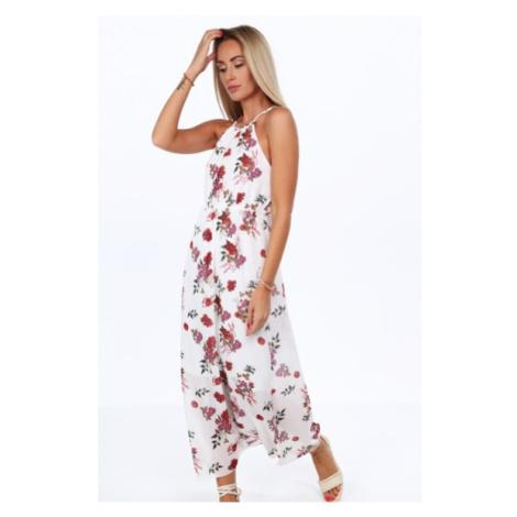 Krémové dlhé šaty s kvetinovými motívmi na tenkých ramienkach FASARDI
