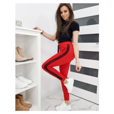 Červené dámske teplákové nohavice uy0262