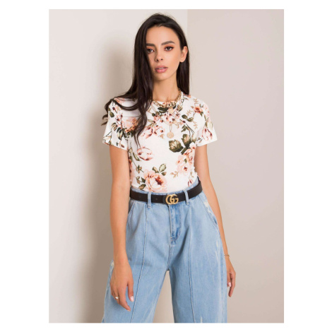RUE PARIS Ecru blouse with a floral motif