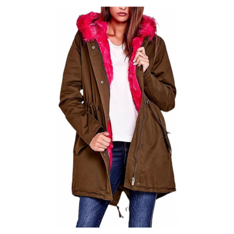 Dámska hnedá bunda s ružovou kožušinou