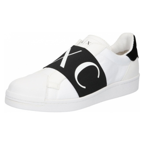 ARMANI EXCHANGE Slip-on obuv  biela / čierna