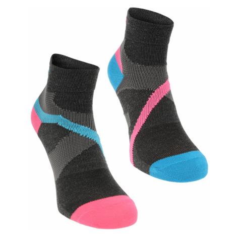 Karrimor Support Quarter Socks 2 Pack Ladies Blk/Pink/Blue