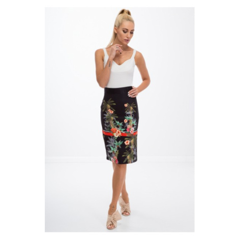 Letná, čierna, puzdrová, kvetovaná sukňa FASARDI