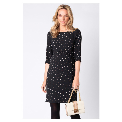 Čierne vzorované tehotenské šaty Minnie