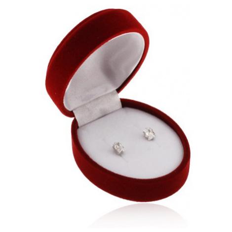 Oválna bordová krabička na náušnice, prívesok alebo dva prstene, zamatový povrch