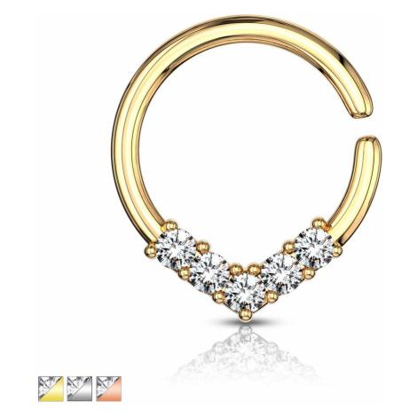 Okrúhly piercing do ucha alebo nosa s ozdobnou korunkou zo zirkónov - Farba: Zlatá