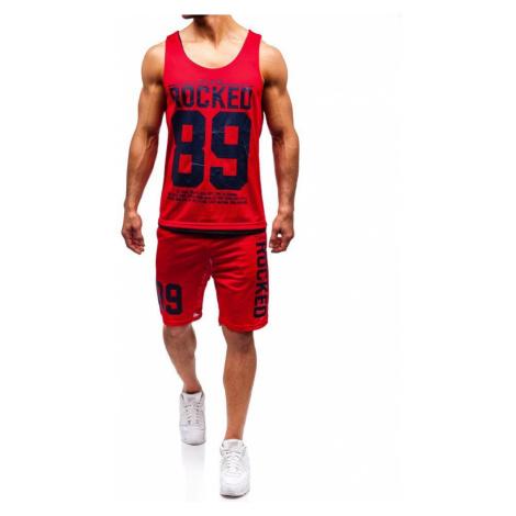 Červený pánsky komplet: tričko + kraťasy  BOLF 100780 J.STYLE