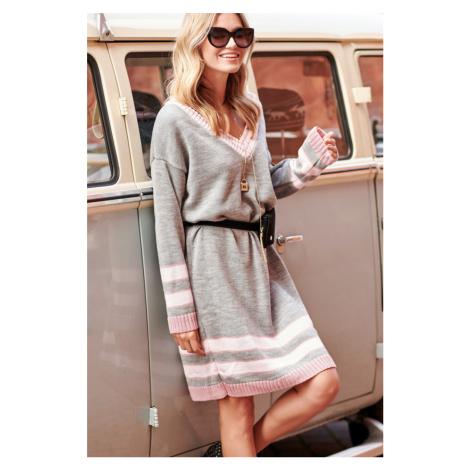 Svetlosivé svetrové šaty S98 Makadamia