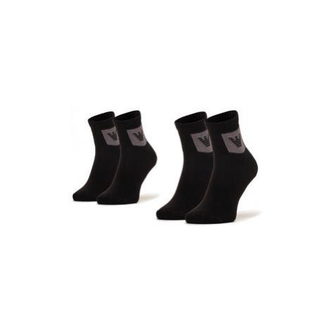 Emporio Armani Súprava 2 párov členkových pánskych ponožiek 303222 0A300 00321 r.Uni Čierna