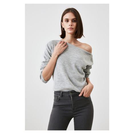 Trendyol Grey Kayak Collar Knitwear Sweater
