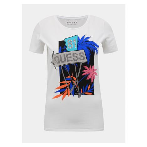 Biele dámske tričko s potlačou Guess