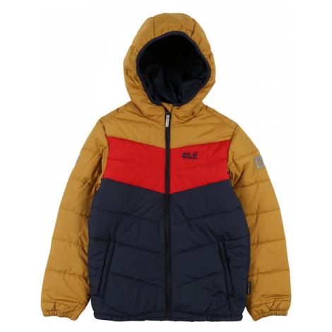 JACK WOLFSKIN Športová bunda 'THREE HILLS'  zlatá žltá / námornícka modrá / červená