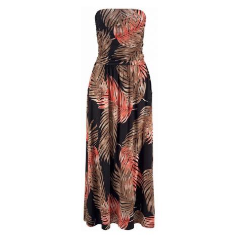 LASCANA Šaty  čierna / hnedá / ohnivo červená