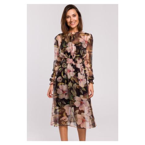 Čierne kvetované šaty S213