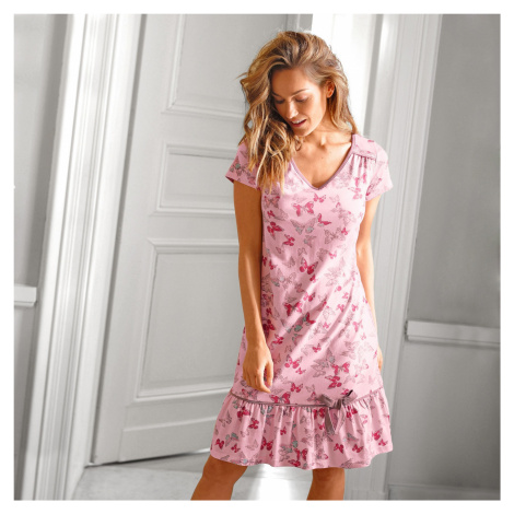 Blancheporte Nočná košeľa s celopotlačou motýľov ružová