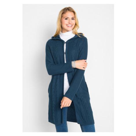 Dlhý pletený sveter s kapucňou