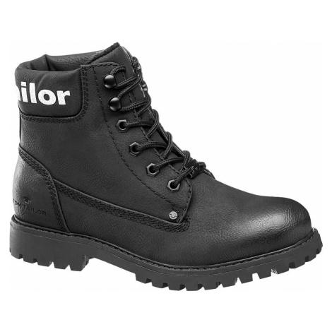Tom Tailor - Čierna šnurovacia obuv Tom Tailor
