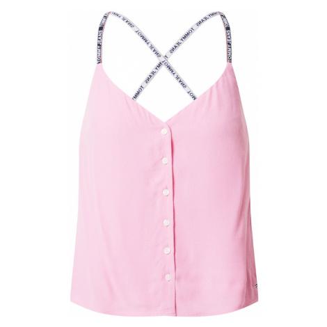 Tommy Jeans Blúzka  ružová / biela / tmavomodrá / červená Tommy Hilfiger