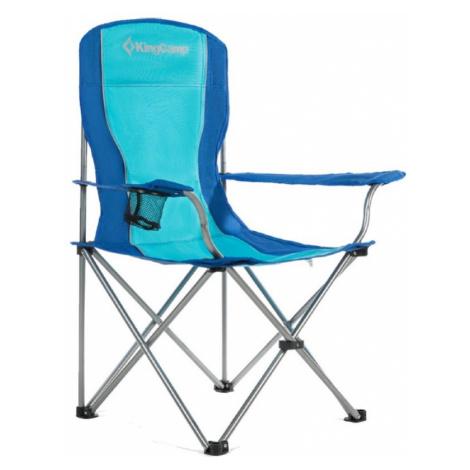 Campingová skladacia stolička KING CAMP s opierkami oceľová - modrá