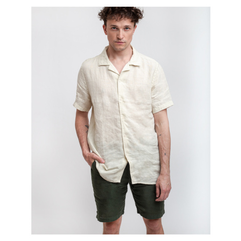 Wax London Didcot Short Sleeve Shirt Oyster Gray Linen