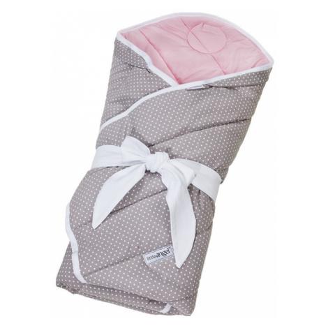 LITTLE ANGEL Zavinovačka multifunkční prošiv Outlast® 78x78cm sivá bodka/ružová baby