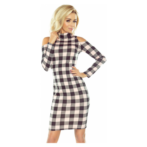 165-1 Dress in black and pink check with turtleneck and holes on the shoulders NUMOCO