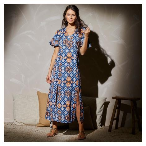 Blancheporte Dlhé šaty s grafickým dizajnom indigo/modrá