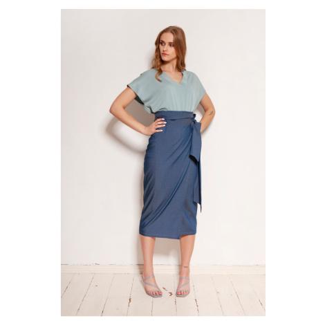 Modré zavinovacie sukne