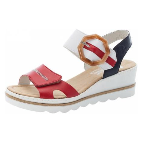 RIEKER Sandále  červená / biela / tmavomodrá / hnedá