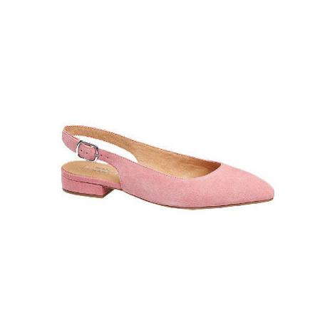 Ružové kožené slingback baleríny 5th Avenue
