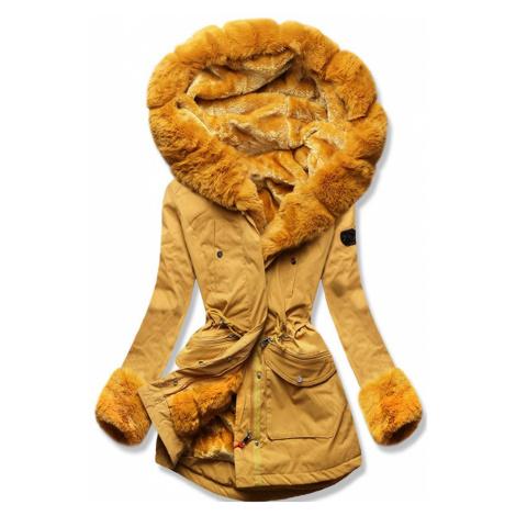 MODOVO Dámska zimná bunda s kožušinou horčicová