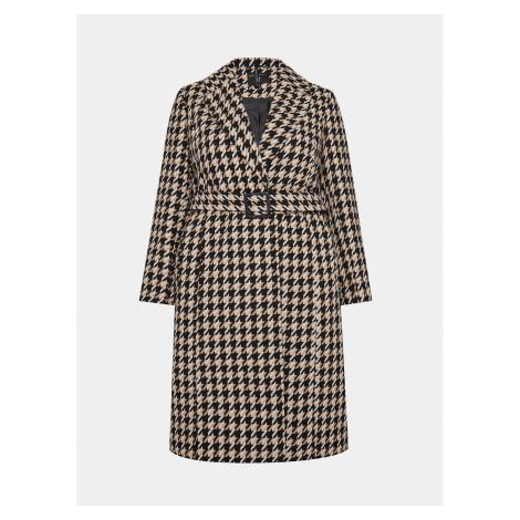 Béžový kockovaný kabát Dorothy Perkins Curve
